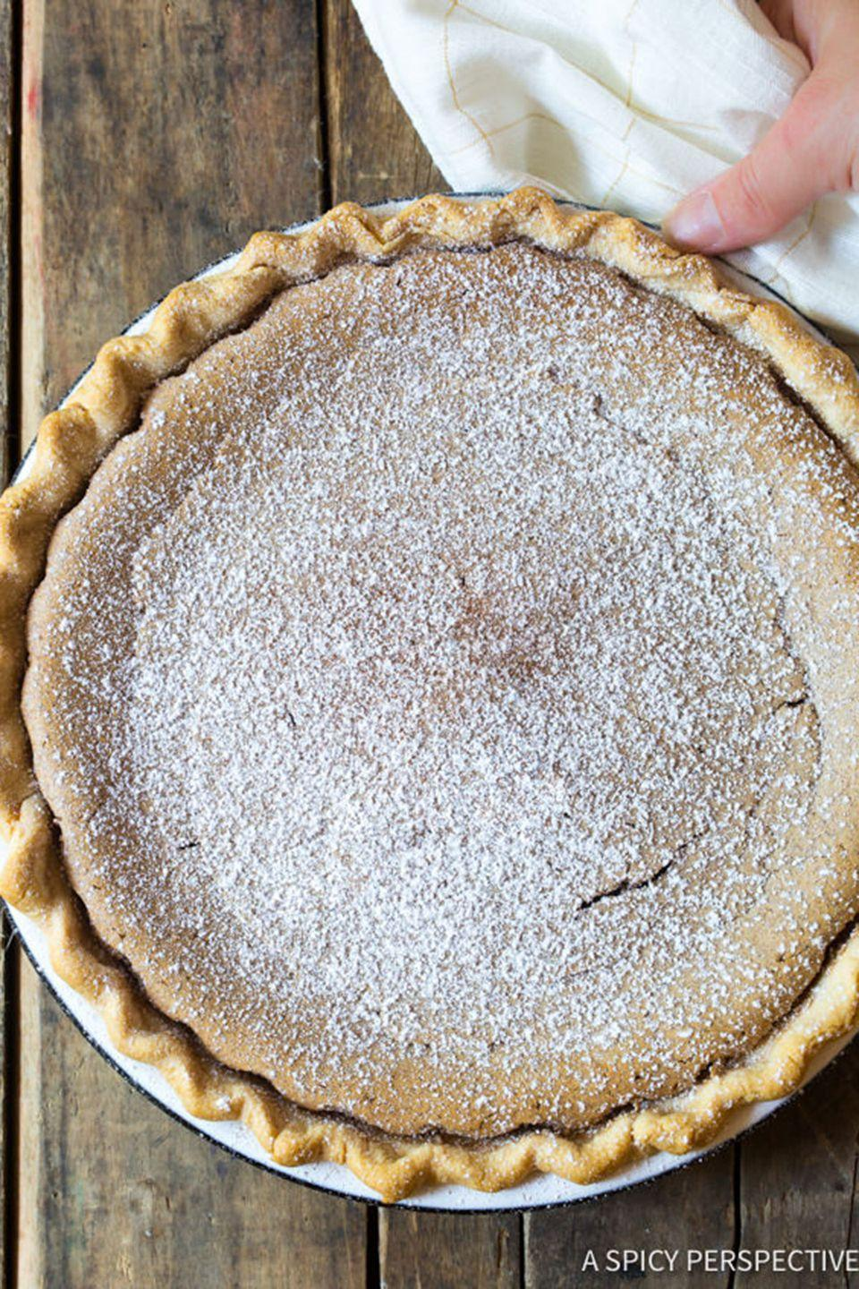 """<p>In the fall, you can never have too much cinnamon. Top with a dusting of powdered sugar, and it'll look as pretty as it is tasty.</p><p><strong>Get the recipe at <a href=""""http://www.aspicyperspective.com/cinnamon-pie/"""" rel=""""nofollow noopener"""" target=""""_blank"""" data-ylk=""""slk:A Spicy Perspective"""" class=""""link rapid-noclick-resp"""">A Spicy Perspective</a>.</strong> </p>"""