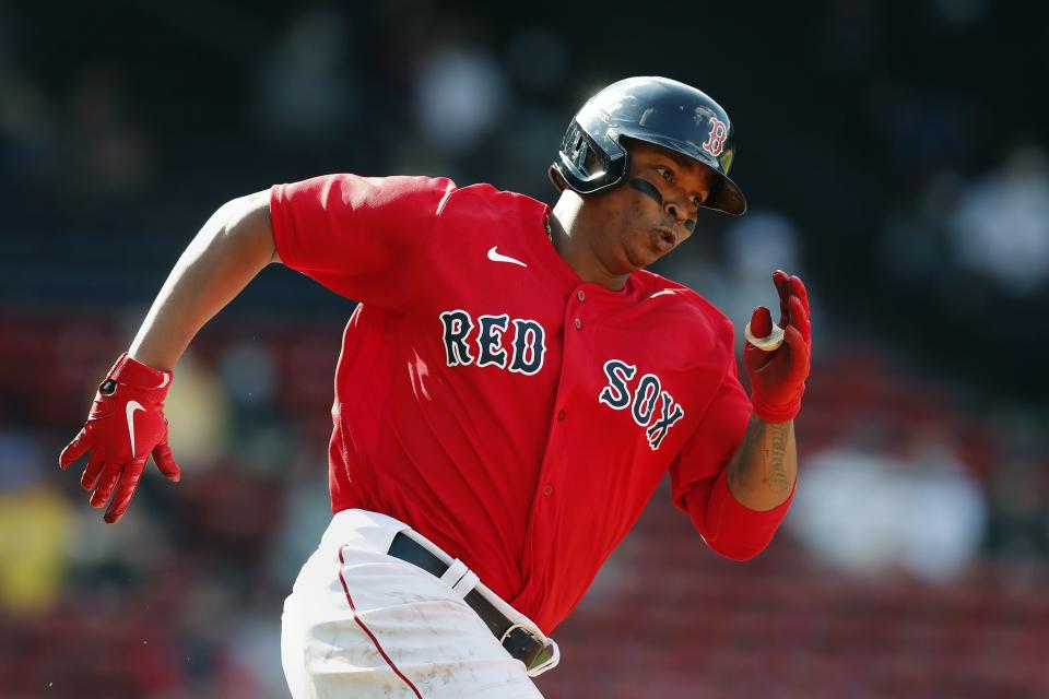 Rafael Devers is one of the reasons Boston is in first place. (AP Photo/Michael Dwyer)