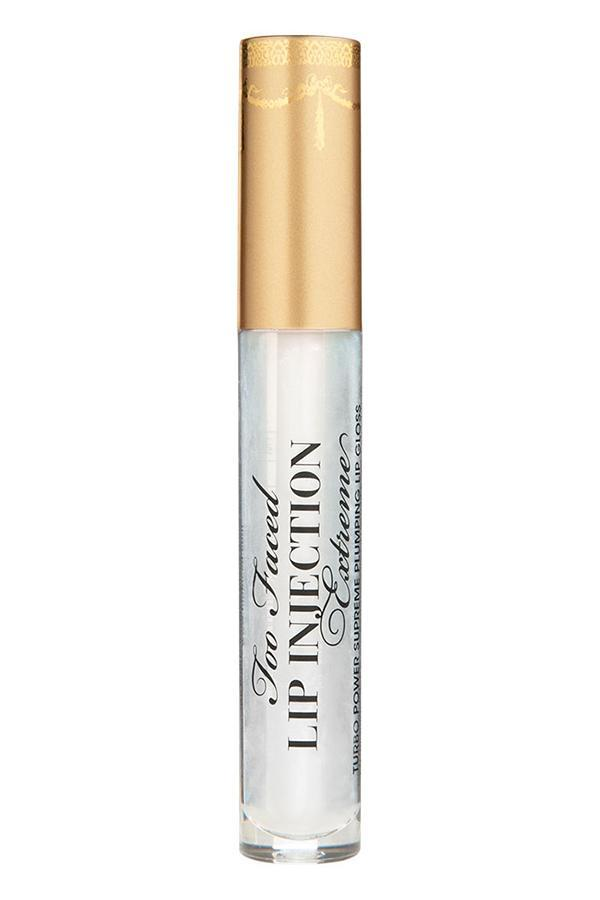 """Ah, yes: no assembly of the best lip plumpers is complete without this longtime cult favorite, a tingly clear formulation with a touch of shimmer that immediately creates that elusive pouty quality. Works like a charm, as they say. <i><a href=""""https://www.toofaced.com/p/lip-plumpers/lip-injection-extreme/"""" rel=""""nofollow noopener"""" target=""""_blank"""" data-ylk=""""slk:Too Faced Lip Injection Extreme"""" class=""""link rapid-noclick-resp"""">Too Faced Lip Injection Extreme</a>, $28</i>"""