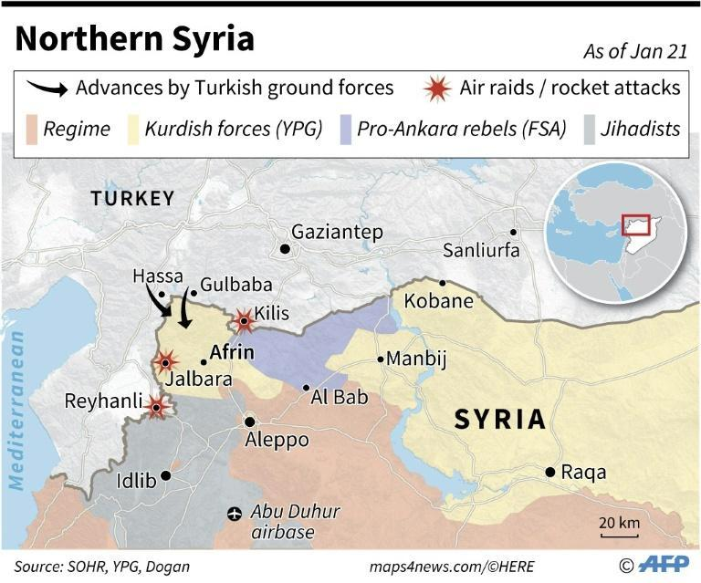 Map of northwestern Syria showing invasion by Turkish forces, reported attacks and zones controlled by various factions