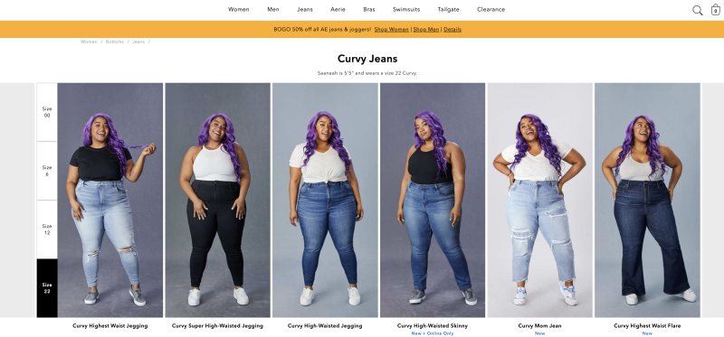 American Eagle Outfitters' new curvy jeans line.