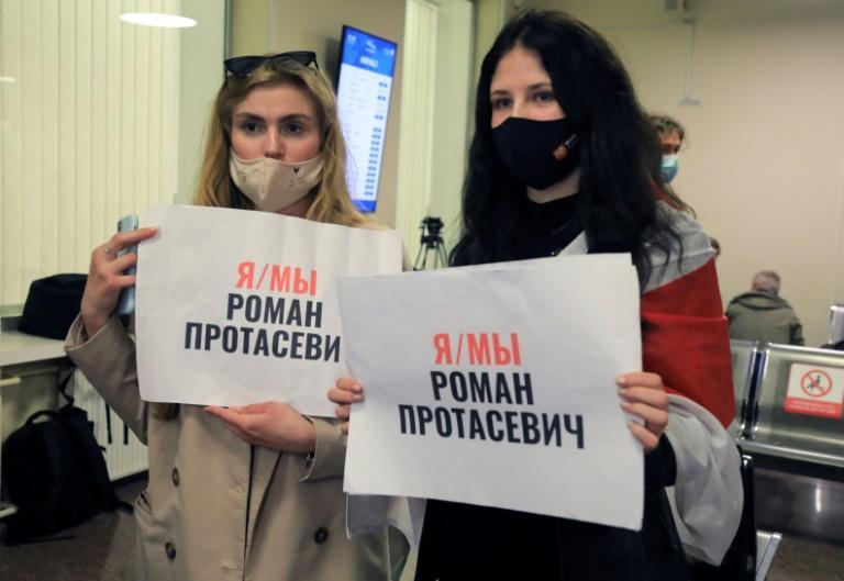 Dozens of Belarusian opposition supporters came to Vilnius airport in a show of support for Protasevich