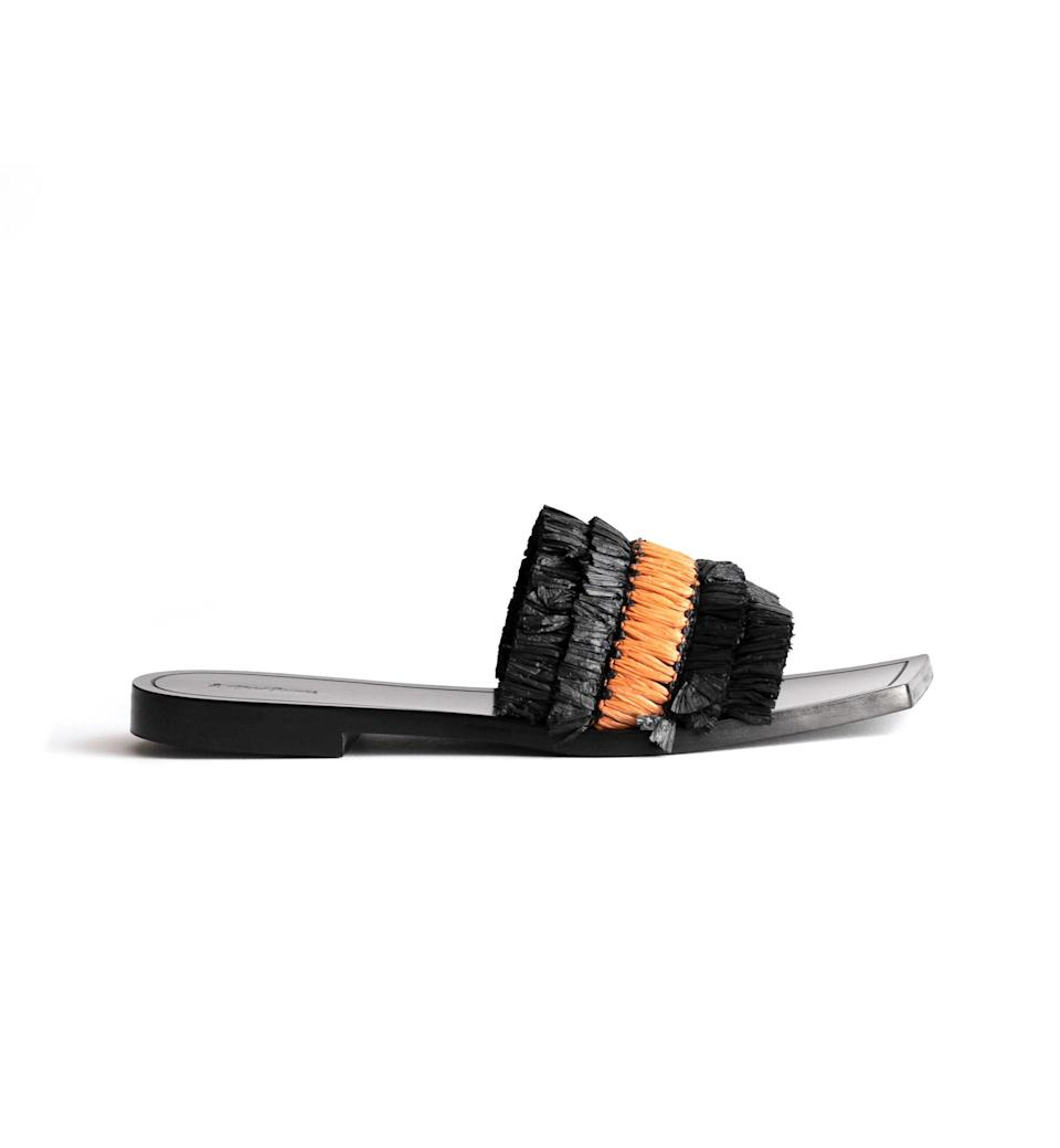 "$79, & Other Stories. <a href=""https://www.stories.com/en_usd/shoes/flat-sandals/product.straw-ruffle-square-toe-sandals-black.0752455001.html"" rel=""nofollow noopener"" target=""_blank"" data-ylk=""slk:Get it now!"" class=""link rapid-noclick-resp"">Get it now!</a>"