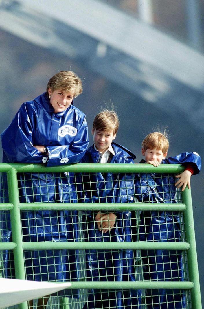 <p>Harry, William, and Princess Diana wear waterproof capes as they take a trip on the Maid of the Mist boat while viewing Niagara Falls.</p>