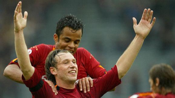 AS Roma's striker Antonio Cassano celebr