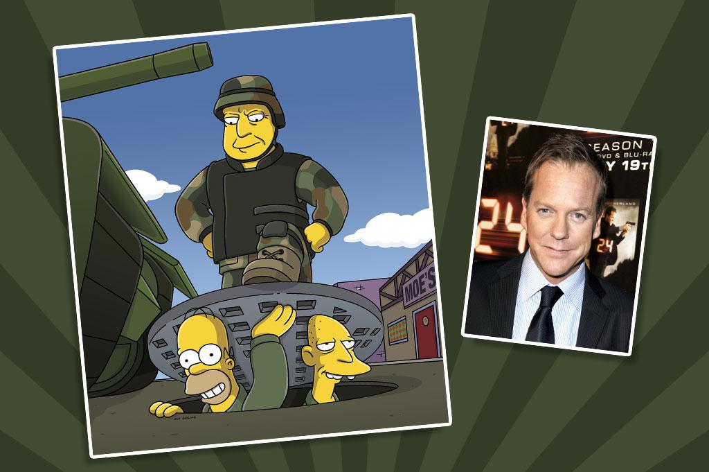 """In a 2007 series crossover that also crossed the line from real life to animation, """"24"""" star Kiefer Sutherland appeared on """"The Simpsons"""" as counterterrorism agent Jack Bauer, saving Bart Simpson's life. In a nod to Sutherland's show, Lisa heads up a CTU of her own — a Counter Truancy Unit — and defuses a bomb at Springfield Elementary ... a stink bomb, that is, also known as a container of stale yogurt."""