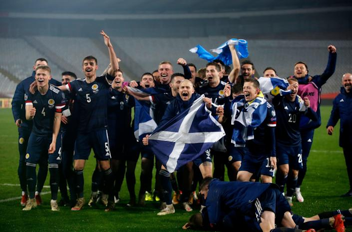 Scotland's players celebrate qualifying for Euro 2020 (Getty Images)