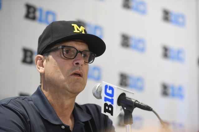 Michigan head coach Jim Harbaugh speaks at the Big Ten Conference NCAA college football Media Days in Chicago, Monday, July 23, 2018. (AP Photo/Annie Rice)