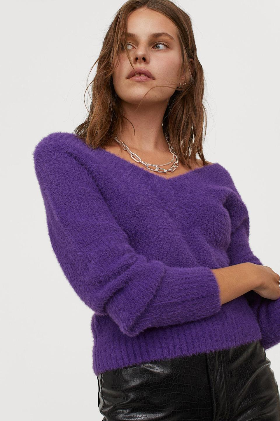 <p>This purple <span>V-neck Sweater<br> </span> ($13, originally $25) will look flattering on anyone.</p>