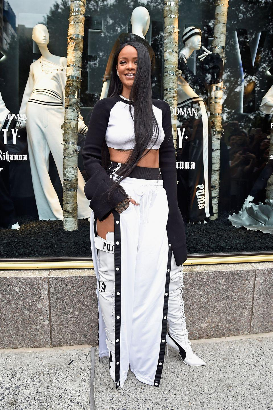 <p>RiRi wears head-to-toe Fenty x Puma by Rihanna to celebrate the release of her debut collection, while greeting fans and shoppers at Bergdorf Goodman in NYC. </p>