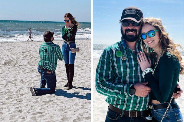 PHOTO: Carly Price, 21, and fiance Trevor Sellers, 25, are pictured on the day they became engaged in March 2020. (Courtesy Carly Price)