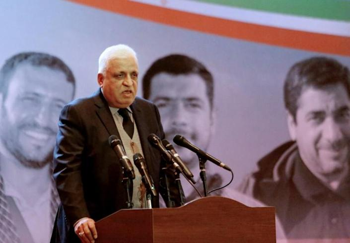 Iraqi's national security adviser Faleh Fayyad, who also is a leader of the Popular Mobilisation Froce known as the Hashed al-Shaabi, addresses the memorial service held in Baghdad's high-security Green Zone (AFP Photo/SABAH ARAR)