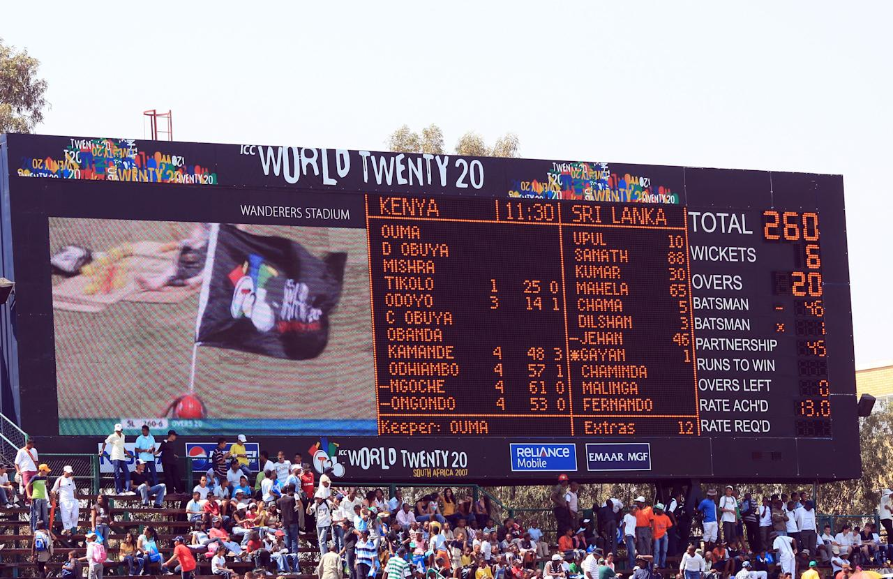 JOHANNESBURG, SOUTH AFRICA - SEPTEMBER 14: The scoreboard at The Wanderers Cricket Ground showing The Sri Lankan score during The ICC World Twenty20 Championship on September 14, 2007 in Johannesburg, South Africa. (Photo by Julian Herbert/Getty Images)