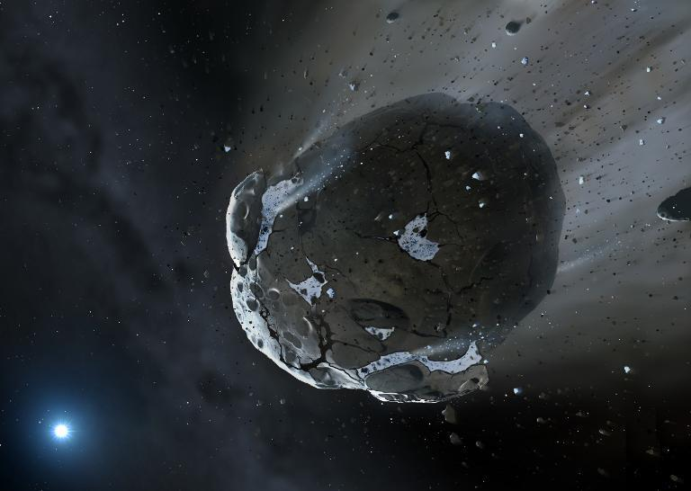 This is an artist impression obtained from The Una ilustración de un asteroide hecha por la Universidad de Warwick y la de Cambridge