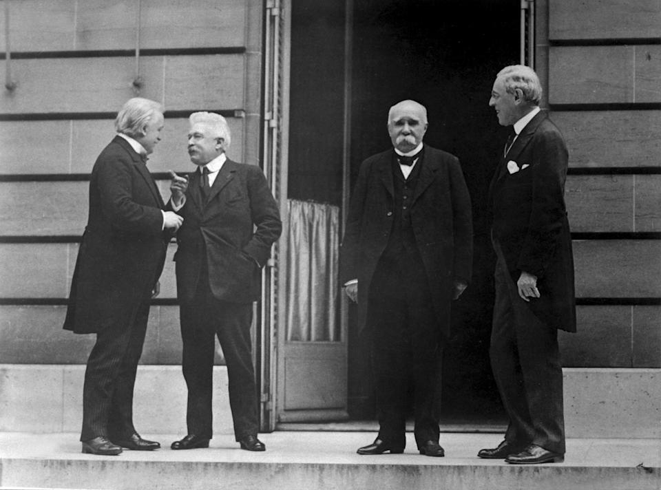 From left, British Prime Minister David Lloyd George (1863 - 1945), Italian Prime Minister Vittorio Orlando (1860 - 1952), French Prime Minister Georges Clemenceau (1841 - 1929) and American President Woodrow Wilson (1856 - 1924), who attended the Paris Peace Conference, France, May 1919. US Army photo. (Photo by Interim Archives/Getty Images)
