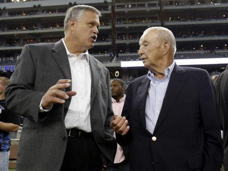 File photo: Detroit Lions President and CEO Matt Millen (L) and team owner William Clay Ford chat before the start of their NFL football game against the Green Bay Packers in Detroit, Michigan in this September 14, 2008 file photo. REUTERS/Rebecca Cook/Files