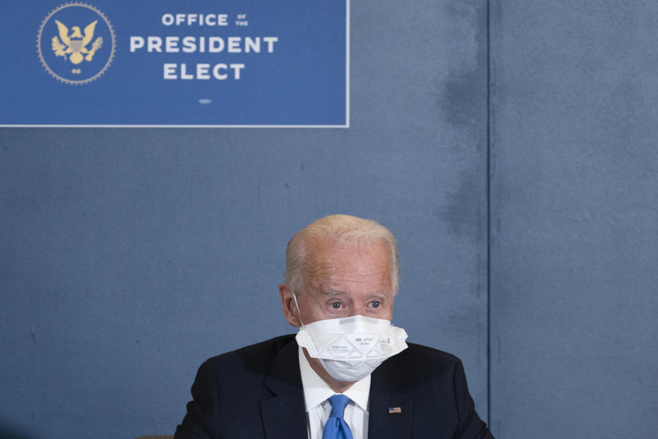 President-elect Joe Biden, speaks during a meeting with Vice President-elect Kamala Harris, Senate Minority Leader Chuck Schumer of N.Y., and House Speaker Nancy Pelosi of Calif., Friday, Nov. 20, 2020, in Wilmington, Del. (AP Photo/Alex Brandon)