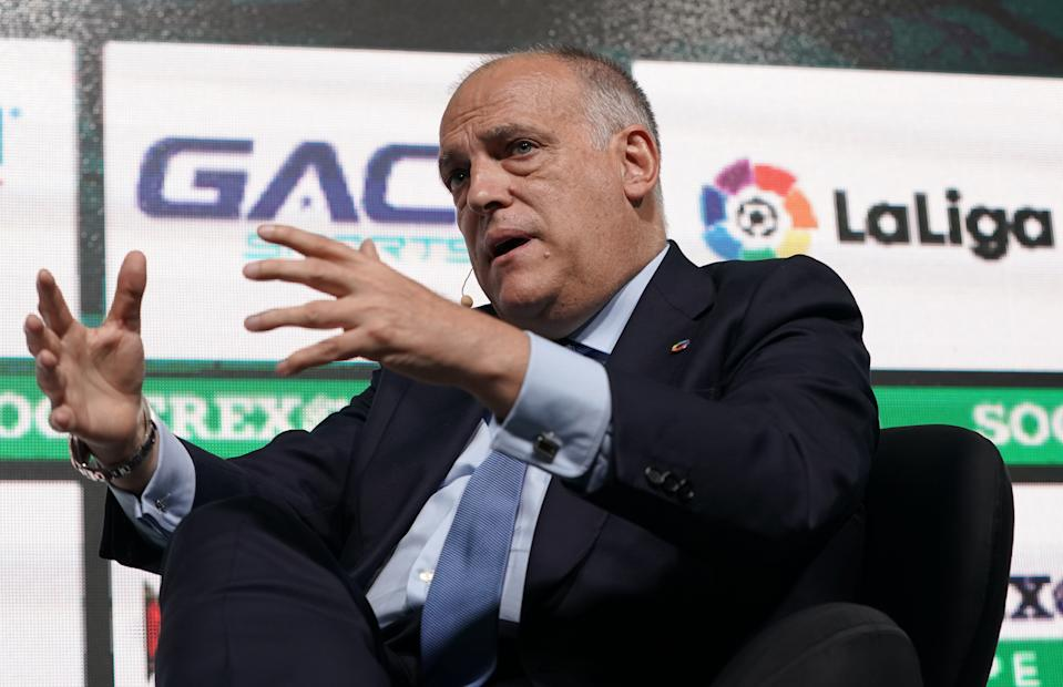 La Liga president Javier Tebas, who has participated in anti-independence rallies in Catalonia, wanted this weekend's El Clasico moved, not postponed. (Getty)