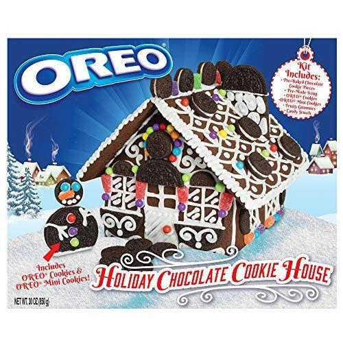 """<p><strong>Oreo</strong></p><p>amazon.com</p><p><strong>$27.95</strong></p><p><a href=""""https://www.amazon.com/dp/B07VNN5RHJ?tag=syn-yahoo-20&ascsubtag=%5Bartid%7C1782.g.24790067%5Bsrc%7Cyahoo-us"""" rel=""""nofollow noopener"""" target=""""_blank"""" data-ylk=""""slk:BUY NOW"""" class=""""link rapid-noclick-resp"""">BUY NOW</a></p><p>This easy-to-assemble kit uses chocolate dough and Oreo cookies instead of gingerbread—if that sounds like more of your thing.</p>"""