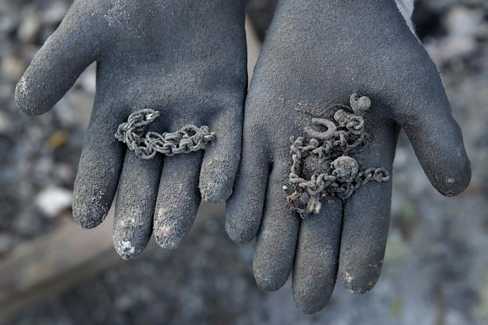 Jewelry salvaged from a home destroyed by the Kincade Fire near Geyserville, Calif., on  Oct. 31, 2019.