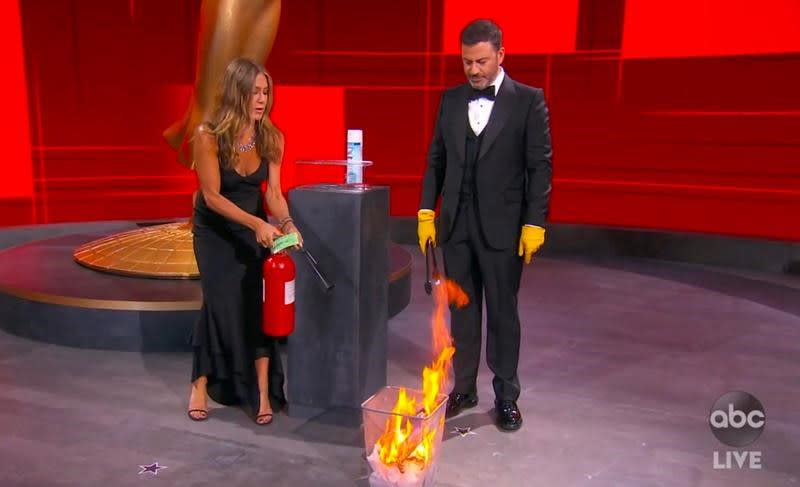 Aniston is award-worthy first responder in Emmy fire skit