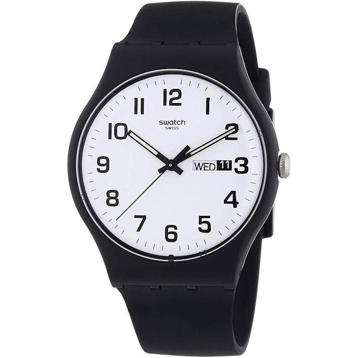 """<p><strong>Swatch</strong></p><p>amazon.com</p><p><strong>$74.99</strong></p><p><a href=""""https://www.amazon.com/dp/B00EMUR0UW?tag=syn-yahoo-20&ascsubtag=%5Bartid%7C10054.g.35351418%5Bsrc%7Cyahoo-us"""" rel=""""nofollow noopener"""" target=""""_blank"""" data-ylk=""""slk:Shop Now"""" class=""""link rapid-noclick-resp"""">Shop Now</a></p><p>An understated slapper from the Swiss brand.</p>"""