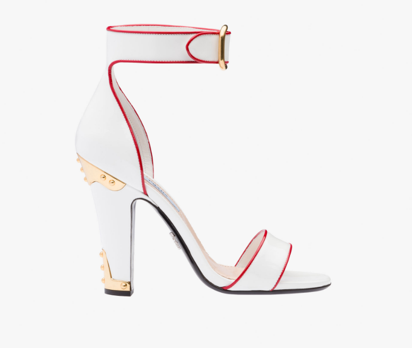 "<p>Ankle-strap sandals with red trim, $890, <a href=""http://www.prada.com/en/US/e-store/woman/shoes/sandals/product/1X172H_06E_F0970_F_110.html"" rel=""nofollow noopener"" target=""_blank"" data-ylk=""slk:Prada.com"" class=""link rapid-noclick-resp"">Prada.com</a></p>"