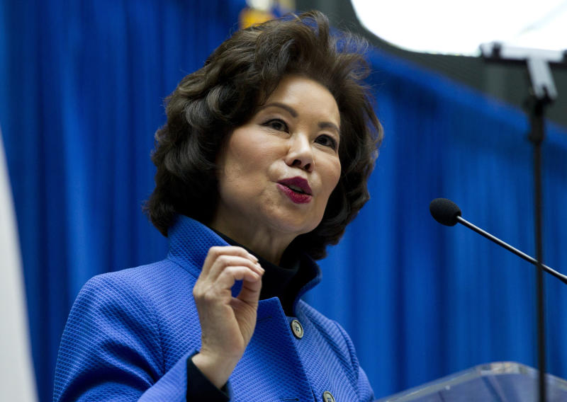 FILE - In this Dec. 11, 2018 file photo, Transportation Secretary Elaine Chao speaks during a major infrastructure investment announcement at transportation headquarters in Washington. The Transportation Department confirmed that its watchdog agency will examine how the FAA certified the Boeing 737 Max 8 aircraft, the now-grounded plane involved in two fatal accidents within five months. Transportation Secretary Elaine Chao formally requested the audit in a letter to Inspector General Calvin Scovel III. Chao, whose agency oversees the FAA, said the audit will improve the department's decision-making. Her letter confirmed that she had previously requested an audit but did not mention reports that the inspector general and federal prosecutors are looking into the development and regulatory approval of the jet. (AP Photo/Jose Luis Magana, File)