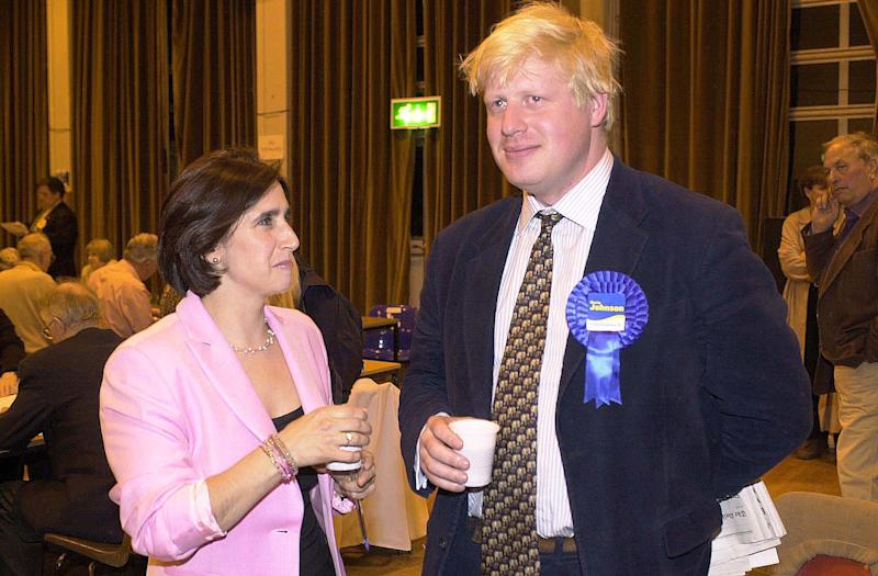 Boris Johnson, with then-wife Marina, at the Henley election count in 2001 (PA)