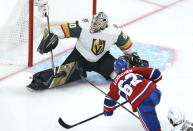 Montreal Canadiens' Artturi Lehkonen (62) scores the game-winning goal past Vegas Golden Knights' Robin Lehner (90) during overtime in Game 6 of an NHL hockey Stanley Cup semifinal playoff series Thursday, June 24, 2021 in Montreal. (Paul Chiasson/The Canadian Press via AP)