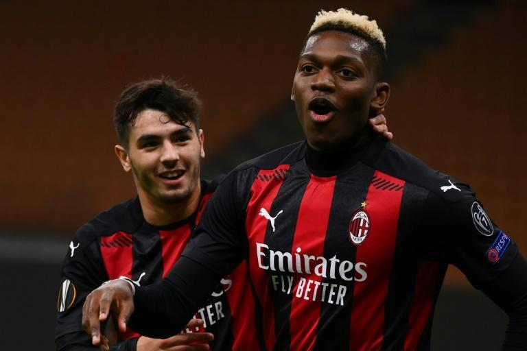 Rafael Leao (R) celebrates with Brahim Diaz (L) after both scored for AC Milan in the Europa League against Sparta Prague.