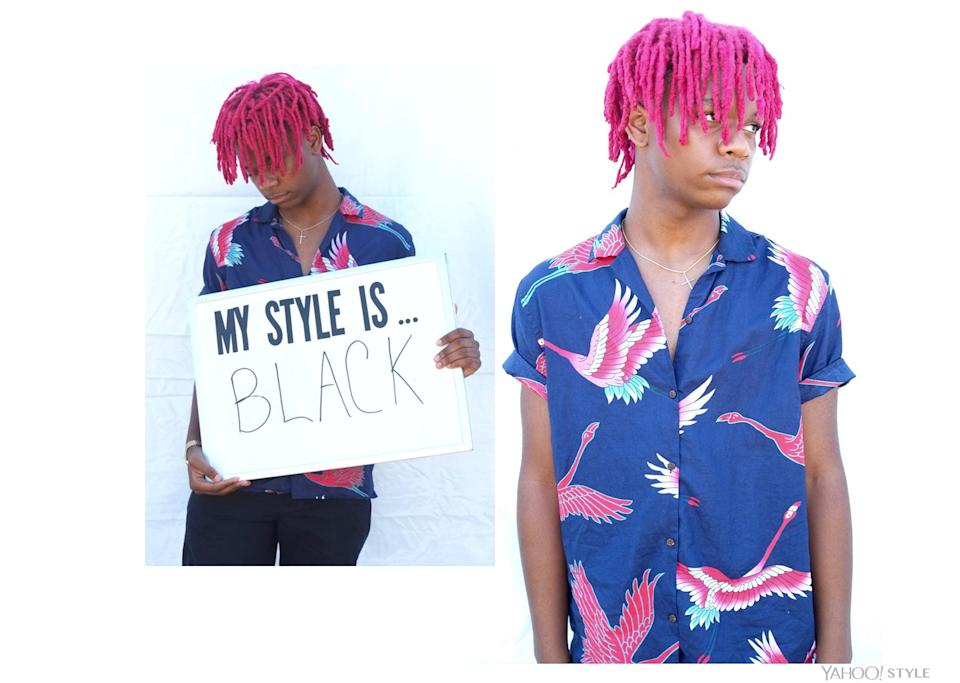 """<p>""""My style is… black"""" – Johnny Based, 17, Queens, NY. (Photo: Corey Presha for Yahoo Style) </p>"""
