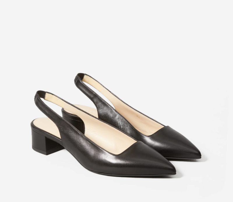 The Editor Slingback Heel in Black. Image via Everlane.