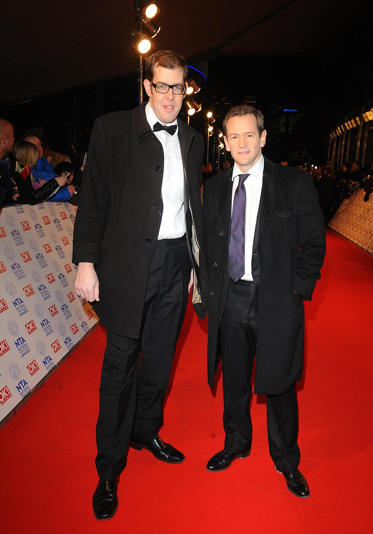 Richard Osman and Alexander Armstrong arriving for the 2013 National Television Awards at the O2 Arena, London.   (Photo by Ian West/PA Images via Getty Images)