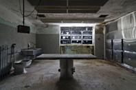<p>Take a closer look at what's written on the windows of this empty morgue.</p>