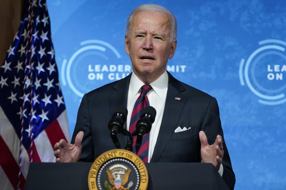 President Joe Biden speaks to the virtual Leaders Summit on Climate, from the East Room of the White House, Thursday, April 22, 2021, in Washington. (AP Photo/Evan Vucci)