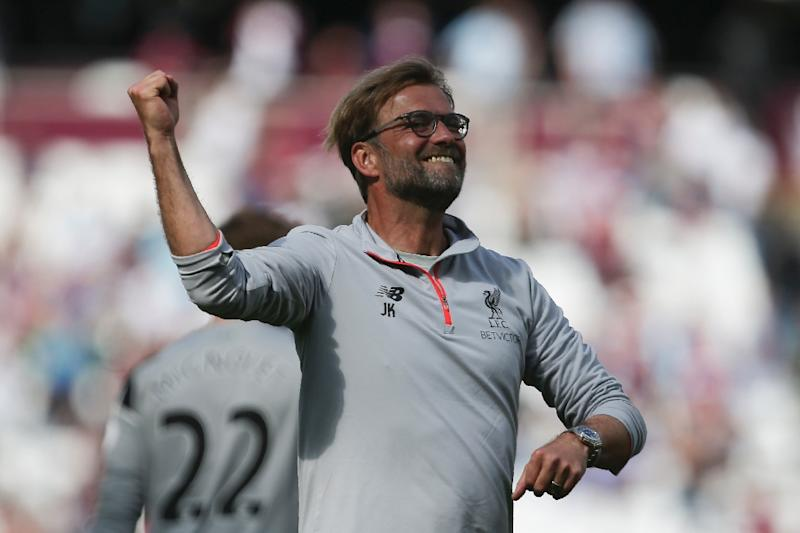 Liverpool's manager Jurgen Klopp celebrates after their English Premier League football match against West Ham United