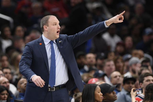 Memphis Grizzlies head coach Taylor Jenkins points during the second half of an NBA basketball game against the Washington Wizards, Sunday, Feb. 9, 2020, in Washington. The Grizzlies won 106-99. (AP Photo/Nick Wass)