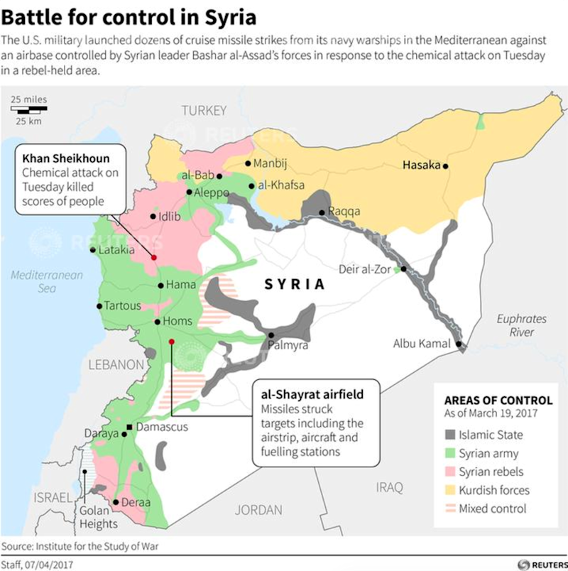Syria strike map