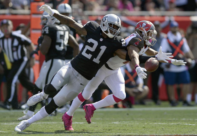 Raiders cornerback Sean Smith was arrested on Thursday and charged with felony assault stemming from a July 4 incident. (AP)