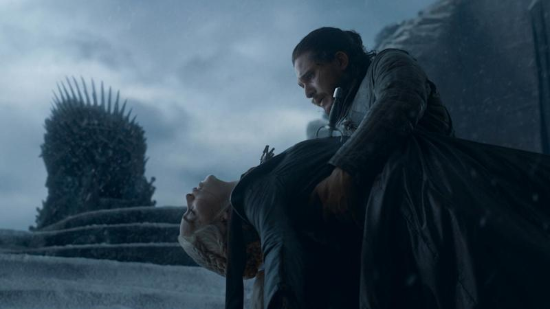 Daenerys Targaryen dies in Jon Snow's arms in the Game of Thrones series finale | Helen Sloan—HBO