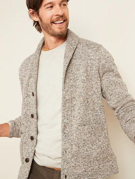 """This Sweater-Fleece Shawl-Collar Cardigan for Men is available in sizes XS to XL. <a href=""""https://oldnavy.gap.com/browse/product.do?pid=595430002&cid=63315&pcid=63315&vid=1&nav=meganav%3AMen%3AShop%20Men%E2%80%99s%20Categories%3ASweaters&grid=pds_10_82_1&cpos=10&cexp=1504&kcid=CategoryIDs%3D63315&cvar=11299&ctype=Listing&cpid=res20111109741914295471233&ccam=4050#pdp-page-content"""" target=""""_blank"""" rel=""""noopener noreferrer"""">Get it on sale for 50% off (normally $45) at Old Navy</a>."""
