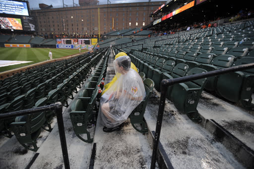 Baltimore Oriole fans wait out a rain delay in a baseball game against the Boston Red Sox, Saturday, July 27, 2013, in Baltimore. (AP Photo/Gail Burton)