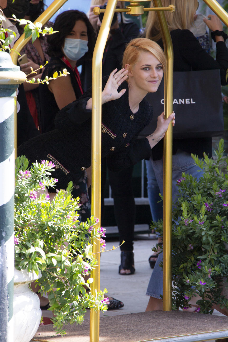 FILE - In this Sept, 3, 2021 file photo Kristen Stewart poses for photographers upon arrival for the film 'Spenser' during the 78th edition of the Venice Film Festival in Venice, Italy. (Photo by Joel C Ryan/Invision/AP, File)
