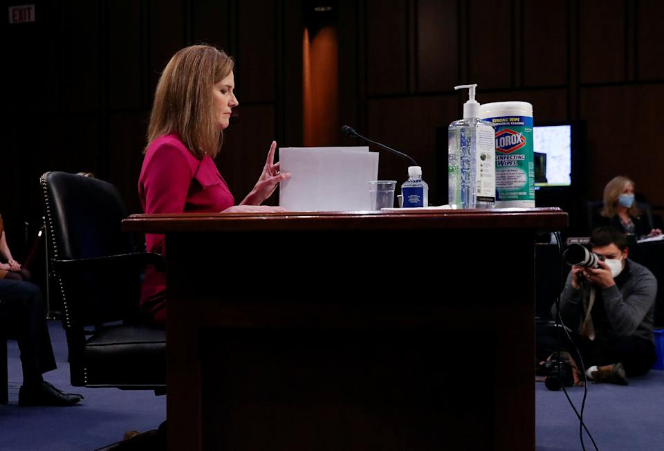 Supreme Court nominee Amy Coney Barrett delivers her opening statement before the Senate Judiciary Committee in Washington on Oct. 12, 2020. (Photo: Leah Millis/Reuters)