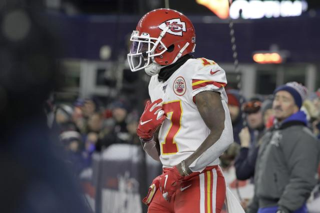 Kansas City Chiefs wide receiver Mecole Hardman celebrates his touchdown catch against the New England Patriots in the first half of an NFL football game, Sunday, Dec. 8, 2019, in Foxborough, Mass. (AP Photo/Steven Senne)