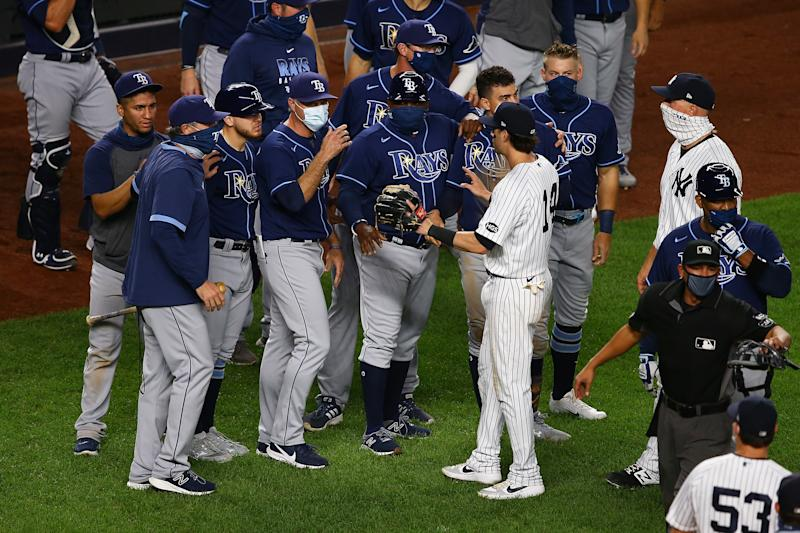 Benches clear game at Yankees-Rays rivalry heats up again. (Photo by Mike Stobe/Getty Images)