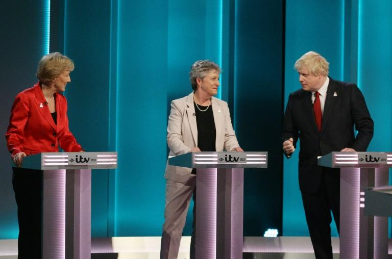 This picture shows (L-R) Conservative Party politician Andrea Leadsom, Labour Party politician Gisela Stuart and Former Mayor of London and Conservative Party politician Boris Johnson talking during The ITV Referendum Debate in London on June 9, 2016