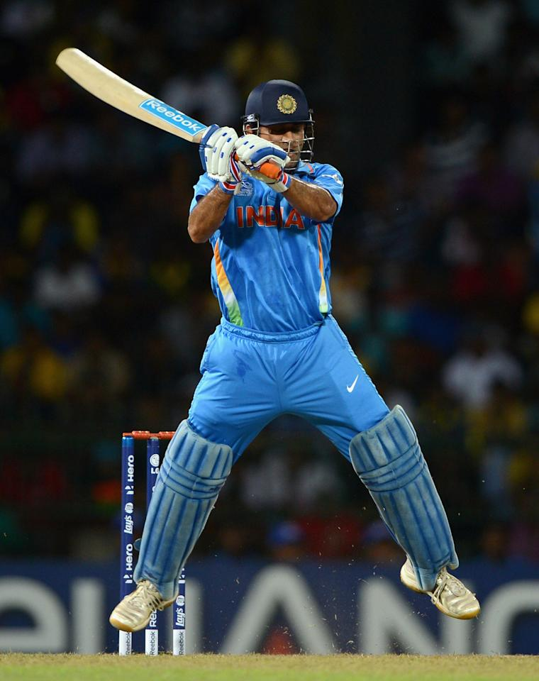 COLOMBO, SRI LANKA - SEPTEMBER 23:  India captain MS Dhoni bats during the  ICC World Twenty20 2012 Group A match between England and India at R. Premadasa Stadium on September 23, 2012 in Colombo, Sri Lanka.  (Photo by Gareth Copley/Getty Images)