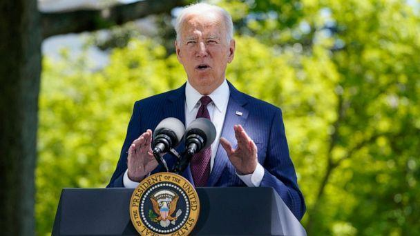 PHOTO: President Joe Biden speaks about COVID-19, on the North Lawn of the White House, on April 27, 2021, in Washington, D.C. (Evan Vucci/AP)